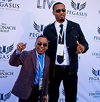 HALLANDALE BEACH, FL - JANUARY 27:  Angel Cordero and Rashard Lewis on the Blue Carpet on Pegasus World Cup Invitational Day at Gulfstream Park Race Track on January 27, 2018 in Hallandale Beach, Florida. (Photo by Scott Serio/Eclipse Sportswire/Getty Images)