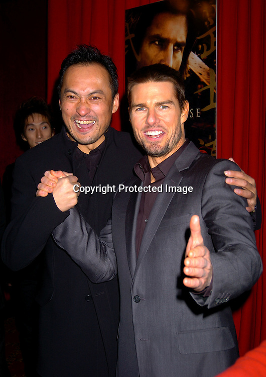 "Ken Watanabe and Tom Cruise..at the New York Premiere of "" The Last Samurai""  on December 2, 2003 at the Ziegfeld Theatre.                           Photo by Robin Platzer, Twin Images"