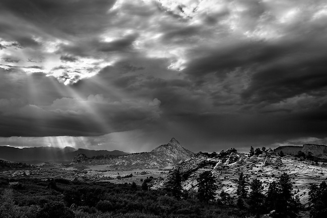A thunderstorm hovers Hop Valley at Zion National Park, Utah