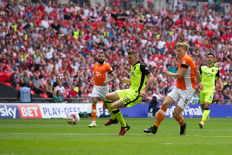 Blackpool's Brad Potts scores the opening goal <br /> <br /> Photographer Craig Mercer/CameraSport<br /> <br /> The EFL Sky Bet League Two Play-Off Final - Blackpool v Exeter City - Sunday May 28th 2017 - Wembley Stadium - London<br /> <br /> World Copyright &copy; 2017 CameraSport. All rights reserved. 43 Linden Ave. Countesthorpe. Leicester. England. LE8 5PG - Tel: +44 (0) 116 277 4147 - admin@camerasport.com - www.camerasport.com