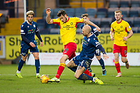 8th February 2020; Dens Park, Dundee, Scotland; Scottish Championship Football, Dundee versus Partick Thistle; Brian Graham of Partick Thistle challenges for the ball with Jordon Forster of Dundee