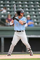 Shortstop Ryan Dorow (2) of the Hickory Crawdads at bat during a game against the Greenville Drive on Monday, July 23, 2018, at Fluor Field at the West End in Greenville, South Carolina. Hickory won, 6-1. (Tom Priddy/Four Seam Images)