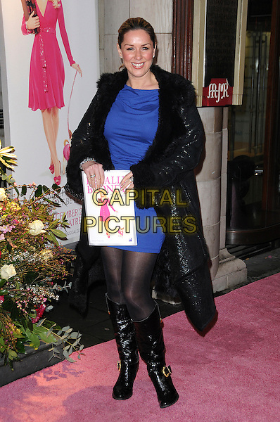 CLAIRE SWEENEY.The Gala Performance of 'Legally Blonde' at The Savoy Theatre, London, England..January 13th, 2010.full length black fur trim coat jacket boots purple blue dress.CAP/CAS.©Bob Cass/Capital Pictures.