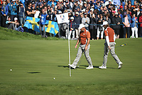 Francesco Molinari (Team Europe) with Tommy Fleetwood (Team Europe) on the 12th during Saturday's Fourballs, at the Ryder Cup, Le Golf National, &Icirc;le-de-France, France. 29/09/2018.<br /> Picture David Lloyd / Golffile.ie<br /> <br /> All photo usage must carry mandatory copyright credit (&copy; Golffile | David Lloyd)