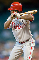Philadelphia Phillies shortstop Michael Martinez #19 at bat during the Major League Baseball game against the Houston Astros at Minute Maid Park in Houston, Texas on September 14, 2011. Philadelphia defeated Houston 1-0 to clinch a playoff berth.  (Andrew Woolley/Four Seam Images)