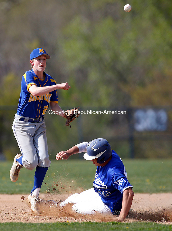 Burlington, CT- 08 May 2015-050815CM02-  Housatonic's Scott Dignacco looks to turn two as Lewis Mill's Greg Campbell is out at second during their Berkshire League matchup in Burlington on Friday.  Christopher Massa Republican-American