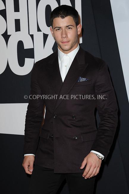 WWW.ACEPIXS.COM<br /> September 9, 2014 New York City<br /> <br /> Nick Jonas attending Fashion Rocks 2014 at the Barclays Center September 9, 2014 in New York City.<br /> <br /> Please byline: Kristin Callahan/AcePictures<br /> <br /> ACEPIXS.COM<br /> <br /> Tel: (212) 243 8787 or (646) 769 0430<br /> e-mail: info@acepixs.com<br /> web: http://www.acepixs.com