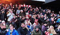 Lincoln City<br /> <br /> Photographer Andrew Vaughan/CameraSport<br /> <br /> The EFL Sky Bet League Two - Cambridge United v Lincoln City - Saturday 29th December 2018  - Abbey Stadium - Cambridge<br /> <br /> World Copyright © celebrate the equalising goal to make it 1-]1 2018 CameraSport. All rights reserved. 43 Linden Ave. Countesthorpe. Leicester. England. LE8 5PG - Tel: +44 (0) 116 277 4147 - admin@camerasport.com - www.camerasport.com