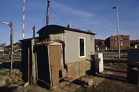 Germany Sassnitz, old railway barrier station house of East Germany Reichsbahn / Deutschland Ruegen Sassnitz, altes Bahnwaerter Haus mit Klo der DDR Reichsbahn