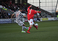 Kenny McLean beats Jonathon Brown to cross in the St Mirren v Brechin City William Hill Scottish Cup Round 4 match played at St Mirren Park, Paisley on 1.12.12.
