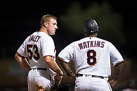 Salt River Rafters right fielder Luke Raley (53), of the Minnesota Twins organization, talks to manager Tommy Watkins (8) during an Arizona Fall League game against the Scottsdale Scorpions at Salt River Fields at Talking Stick on October 11, 2018 in Scottsdale, Arizona. Salt River defeated Scottsdale 7-6. (Zachary Lucy/Four Seam Images)