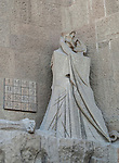Statue on the Gaudi designed cathedral La Sagrada Familia in Barcelona, Spain <br />