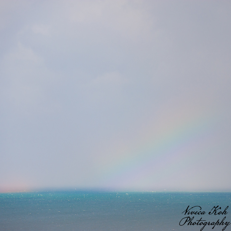 Rainbow over the sea, post-rain. Isle of man.
