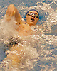 Aidan McCaughey of Levittown-East Meadow competes in the 100 backstroke event during a boys swimming meet against Bellmore-Merrick at Nassau Aquatic Center on Friday, Jan. 27, 2017. He won with a time of 1:01.55.