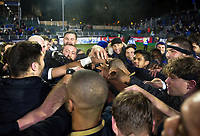The Bath Rugby team celebrate victory after the match. European Rugby Champions Cup match, between Bath Rugby and RC Toulon on December 16, 2017 at the Recreation Ground in Bath, England. Photo by: Patrick Khachfe / Onside Images