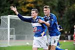 2015-10-25 / Voetbal / Seizoen 2015-2016 / FC Turnhout - KV Vosselaar / Niels Van de Vel scoorde de 2-1 en viert hier met Steven Van de Vreede<br /><br />Foto: Mpics.be