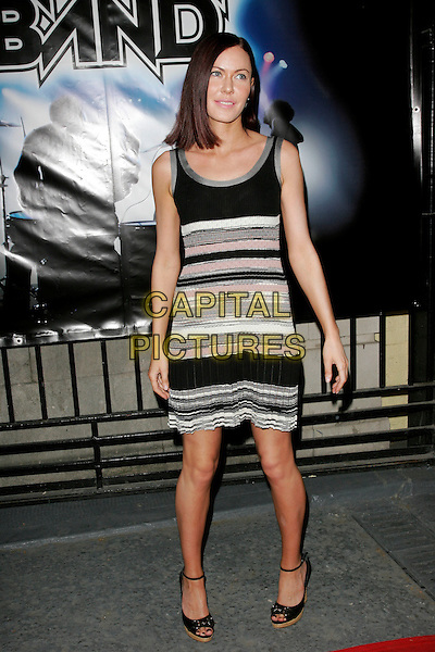 "LINZI STOPPARD.""Rock Band"" video game launch at Bloomsbury Bowling Lanes, London, England. .May 13th, 2008.full length black white grey gray pink striped stripes dress .CAP/AH.©Adam Houghton/Capital Pictures."