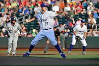 Omaha Storm Chaser pitcher Jake Ordorizz (27)i throws a pitch during the game against the Reno Aces at Werner Park on August 3, 2012 in Omaha, Nebraska.(Dennis Hubbard/Four Seam Images)