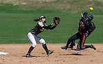 THOMASTON,  CT-041619JS01-Watertown's Chloe DeFeo (34) safely steals second base after beating the tag by Thomaston's Caitlin Magnuson (13) during their game Tuesday at Thomaston High School.<br />  Jim Shannon Republican American