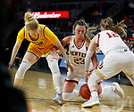 SIOUX FALLS, SD - MARCH 8: Madison Nelson #23, Claire Gritt #12 of the Denver Pioneers and Raquel Terrer van Gool #33 of the North Dakota State Bison fight for a lose ball at the 2020 Summit League Basketball Championship in Sioux Falls, SD. (Photo by Richard Carlson/Inertia)