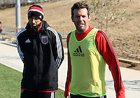 WASHINGTON, DC - February 06, 2012: Josh Wolff and head coach Ben Olsen of DC United during a pre-season practice session at Long Bridge Park, in Arlington, Virginia on February 6, 2013.