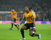 27th December 2019; Molineux Stadium, Wolverhampton, West Midlands, England; English Premier League, Wolverhampton Wanderers versus Manchester City; Adama Traore of Wolverhampton Wanderers shouts at the assistant referee after a foul by Raheem Sterling of Manchester City  - Strictly Editorial Use Only. No use with unauthorized audio, video, data, fixture lists, club/league logos or 'live' services. Online in-match use limited to 120 images, no video emulation. No use in betting, games or single club/league/player publications