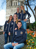 2016, 12 April, Arena Loire, Tr&eacute;laz&egrave;,  Semifinal FedCup, France-Netherlands,  Dutch team  ltr: Cindy Burger,  Richel Hogenkamp ,Kiki Bertens, Arantxa Rus and Captain Paul Haarhuis<br /> Photo:Tennisimages/Henk Koster