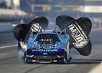 Feb 7, 2020; Pomona, CA, USA; NHRA funny car driver Tim Wilkerson during qualifying for the Winternationals at Auto Club Raceway at Pomona. Mandatory Credit: Mark J. Rebilas-USA TODAY Sports