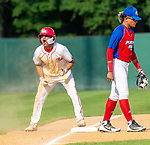WATERBURY,  CT-072719JS30-- D-Bat's Alejandro Mendoza (2) celebrates his RBI triple during their Mickey Mantle World Series game against Cyclones Ponce (Puerto Rico) Saturday at Municipal Stadium in Waterbury.  <br /> Jim Shannon Republican-American