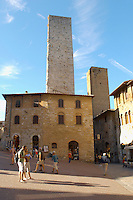 Medieval houses around Plazza Duomo - San Gimignano - Italy