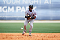 Jackson Generals third baseman Dawel Lugo (31) fields a ground ball during a game against the Biloxi Shuckers on April 23, 2017 at MGM Park in Biloxi, Mississippi.  Biloxi defeated Jackson 3-2.  (Mike Janes/Four Seam Images)