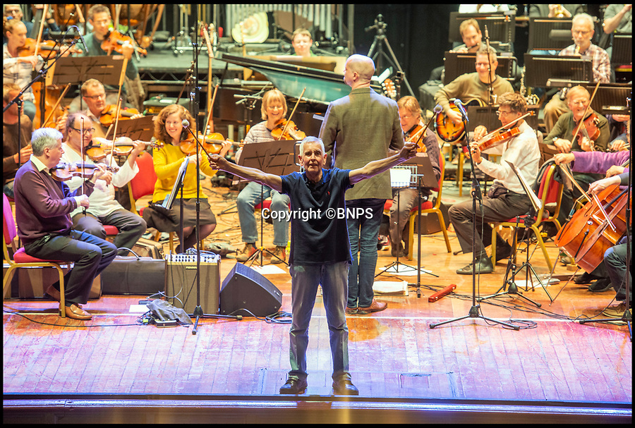 BNPS.co.uk (01202 558833)<br /> Pic :  RogerArbon/BNPS<br /> <br /> Paul Barrett on on stage during rehearsals before the show.<br /> <br /> A retired businessman has spent £26,000 laying on his very own a show in tribute to his hero - the musical maestro Annunzio Paolo Mantovani.<br /> <br /> Paul Barrett, 72, will perform in a 48-piece orchestra he has hired for the performance that he is prepared to make a loss of thousands of pounds on.<br /> <br /> Mr Barrett said he plans to do 'everything bar conducting' in the musical extravaganza being hosted at the Bournemouth Pavilion Theatre in Dorset.