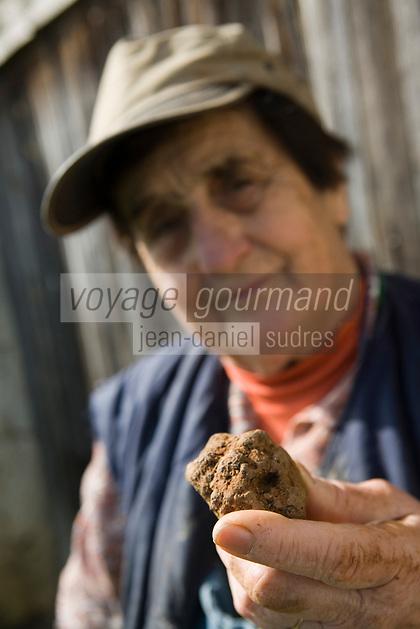 Europe/France/Midi-Pyrénées/46/Lot/Lalbenque: Marthe Delon lors du cavage (Recherche) de ses truffes   Auto N°: 2007-101