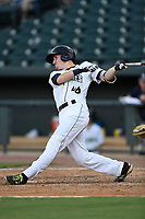 Left fielder Ian Strom (40) of the Columbia Fireflies bats in game one of a doubleheader against the Rome Braves on Saturday, August 19, 2017, at Spirit Communications Park in Columbia, South Carolina. Rome won, 8-2. (Tom Priddy/Four Seam Images)