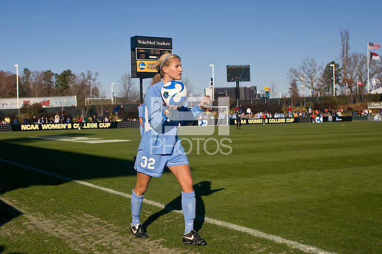 North Carolina Tar Heels defender Kristi Eveland (32) on a throw in. The North Carolina Tar Heels defeated the Notre Dame Fighting Irish 2-1 during the finals of the NCAA Women's College Cup at Wakemed Soccer Park in Cary, NC, on December 7, 2008. Photo by Howard C. Smith/isiphotos.com
