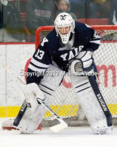 Jeff Malcolm (Yale - 33) - The Yale University Bulldogs defeated the Harvard University Crimson 5-1 on Saturday, November 3, 2012, at Bright Hockey Center in Boston, Massachusetts.