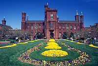 Washington, DC, District of Columbia, The Smithsonian Institution Building, the castle, at the Smithsonian Institution at National Mall in Washington D.C. in the spring.