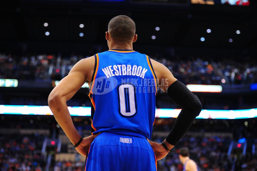 Mar. 30, 2011; Phoenix, AZ, USA; Oklahoma City Thunder guard (0) Russell Westbrook against the Phoenix Suns at the US Airways Center. Mandatory Credit: Mark J. Rebilas-