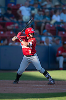 Vancouver Canadians designated hitter Christopher Bec (3) at bat during a Northwest League game against the Spokane Indians at Avista Stadium on September 2, 2018 in Spokane, Washington. The Spokane Indians defeated the Vancouver Canadians by a score of 3-1. (Zachary Lucy/Four Seam Images)