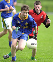 James Foley,  Presentation Miltown, races for possession with Patrick Dennehy .Kenmare Community School in the Kerry Colleges Russell Shield final at Dr. Crokes field, Killarney  on Tuesday afternoon.<br />