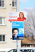 Federal elections billboard, Chantal Perreault for the Liberal party and Nicolas Dufour for the Bloc