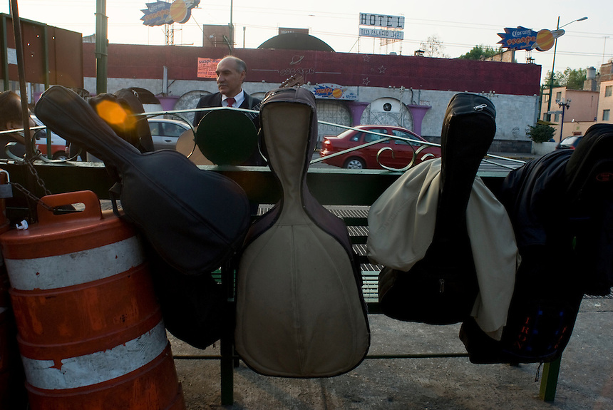 Instrument cases in Plaza Garibaldi where Mariachis gather to be hired in Mexico City, Friday, Jan. 4, 2008