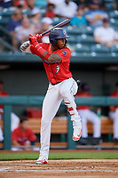 Jacksonville Jumbo Shrimp center fielder Monte Harrison (3) at bat during a game against the Biloxi Shuckers on June 8, 2018 at Baseball Grounds of Jacksonville in Jacksonville, Florida.  Biloxi defeated Jacksonville 5-3.  (Mike Janes/Four Seam Images)