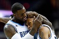 Washington, DC - MAR 10, 2018: Rhode Island Rams guard Jared Terrell (32) celebrates with Rhode Island Rams guard Fatts Russell (2) after taking the lead late in the 4th quarter of the semi final match up of the Atlantic 10 men's basketball championship between Saint Joseph's and Rhode Island at the Capital One Arena in Washington, DC. (Photo by Phil Peters/Media Images International)
