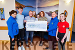 Frank Coffey (Farranfore) donating the proceeds of his 50th birthday fundraiser of €2,000 to the Kerry Hospice on Monday. L-r, Mary Shanahan, Gearoid, Frank, Lauren, Darragh and Siobhan Coffey, Joe Hennebery and Clodagh Coffey.