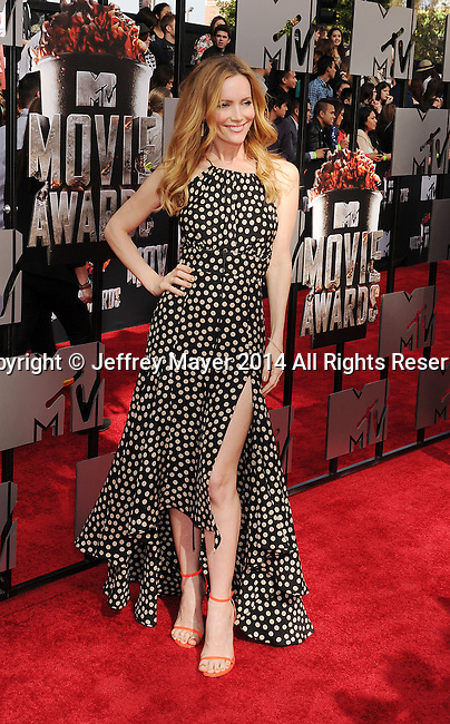 LOS ANGELES, CA- APRIL 13: Actress Leslie Mann attends the 2014 MTV Movie Awards at Nokia Theatre L.A. Live on April 13, 2014 in Los Angeles, California.