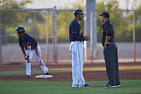 AZL Indians Red manager Jerry Owens (7) argues a call with umpire Larry Dillman Jr. during an Arizona League game against the AZL Padres 1 on June 23, 2019 at the Cleveland Indians Training Complex in Goodyear, Arizona. AZL Indians Red defeated the AZL Padres 1 3-2. (Zachary Lucy/Four Seam Images)
