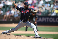 OAKLAND, CA - JUNE 30:  Dan Otero #61 of the Cleveland Indians pitches against the Oakland Athletics during the game at the Oakland Coliseum on Saturday, June 30, 2018 in Oakland, California. (Photo by Brad Mangin)