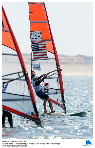 20140912, Santander, Spain: 2014 ISAF SAILING WORLD CHAMPIONSHIPS - More than 1,250 sailors in over 900 boats from 84 nations will compete at the Santander 2014 ISAF Sailing World Championships from 8-21 September 2014. The best sailing talent will be on show and as well as world titles being awarded across ten events 50% of Rio 2016 Olympic Sailing Competition places will be won based on results in Santander. Boat class and Sailor(s): RS:X W - USA1 - Farrah Hall. Photo: Mick Anderson/SAILINGPIX.DK.