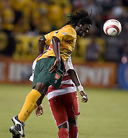 Los Angeles Galaxy's Joseph Ngwenya goes up for a header at the US Open Cup, in the half at the Home Depot Center, in Carson, Calif., Wednesday, September 28, 2005.